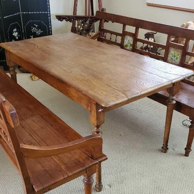 # 66  Antique Teak Wood Table with Two Benches Late 1800's Teak wood with Dutch Reverse painting on glass inlays. One of a kind,...