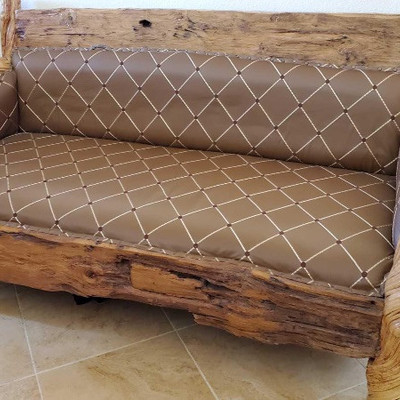 #50 Unique Carved Wood and Leather Bench  Unique Carved Wood and Leather Bench One of a kind, you will never find another. The arms and...