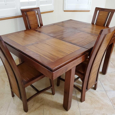 # 68  Hand made from Mahogany and bamboo top Dining Table with 4 Chairs Handmade from Mahogany and Bamboo strips on top and on chairs....