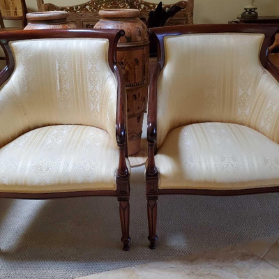 #76 • Two Italian design, red mahogany Yellow and White textile cushions, Accent Chairs Italian design, Red Mahogany wood, with...