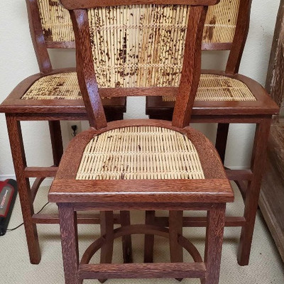 Three Coconut Palm with Tiger Bamboo Wooden Barstools Three Coconut Palm barstools with Tiger Bamboo inlayed strips. Very heavy and...