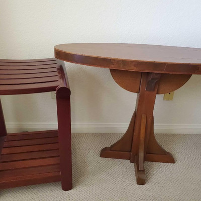 56:Teak side table Made from Teak wood. Measures approx 40