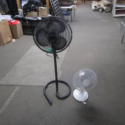 Black Stand Fan and White Table Top Fan