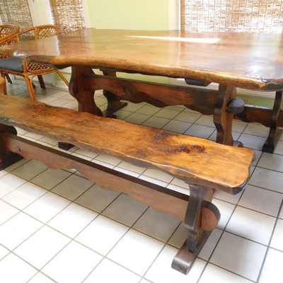 River Wood Table and Benches
