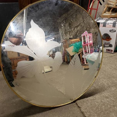 Nice Etched Glass Round Mirror