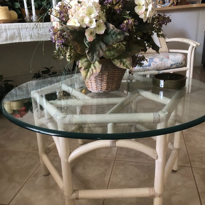 Matching Whitewashed Rattan coffee table w/glass top - 36W  18-1/2H