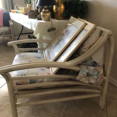 Matching Whitewashed Rattan arm chair - 30W 36D 31H
