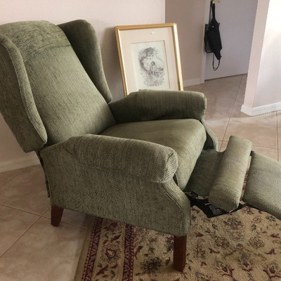 Reclining Sage Wingback Chair - 30W 29D 40H
