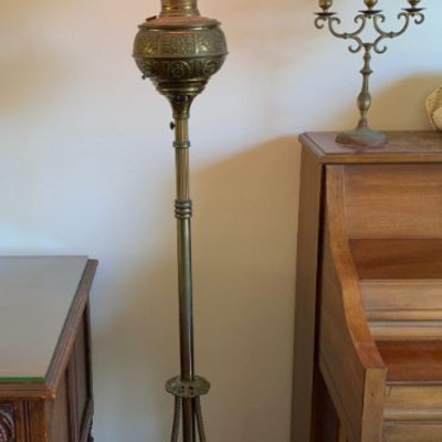 Victorian ornate brass and hand painted shade piano lamp