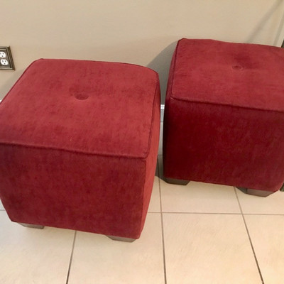 Burgundy ottomans 19 1/2
