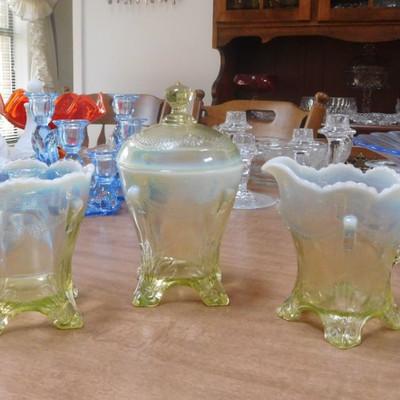 Swag w/Brackets Set by Jefferson Glass Co. Ca. 1904