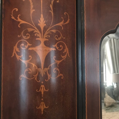 Antique Edwardian mahogany and inlaid armoire $1,495 70 X 21 X 83
