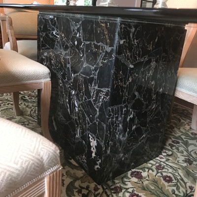 Thomasville marble base and glass dining table $995 Thomasville side chair $99 17 X 19 X 42