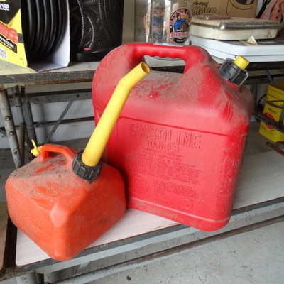 5 Gallon and 1 Gallon gas can.