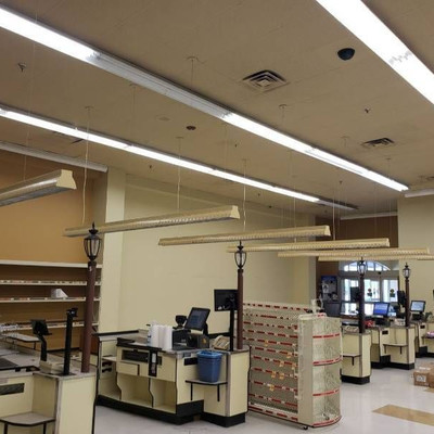 (6) Hanging lights above checkout counters