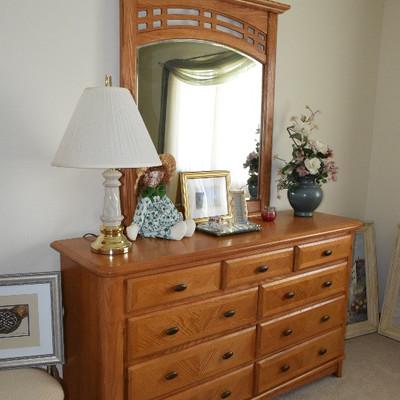 Dresser, Lamp and Mirror