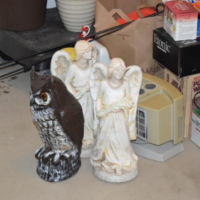Angel and Owl Statues
