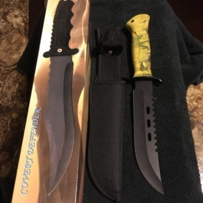 Covert Defender Bowie Knife with Sheath and Box
