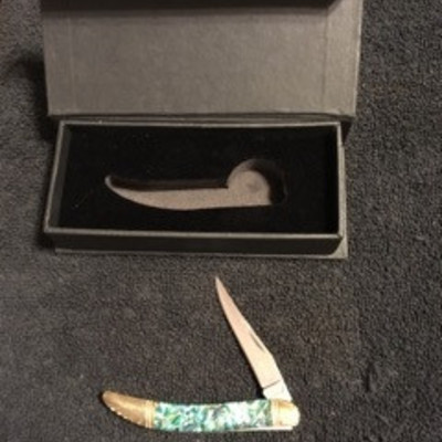 Decorated Handle Single Blade Pocket Knife with Bo ...