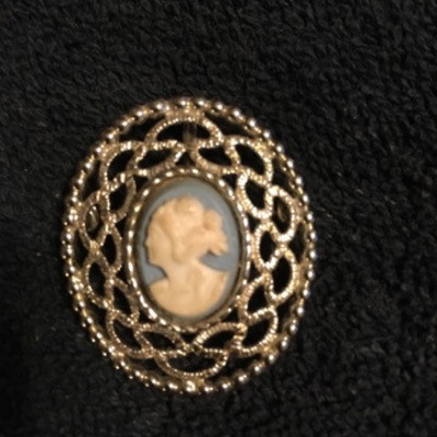 Blue Background Cameo Set in Filigree Brooch Pin