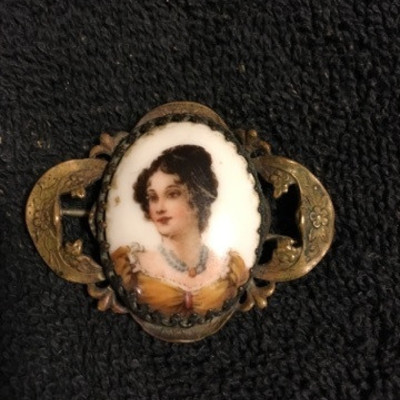 Lady Painted on White Stone Brooch Pin