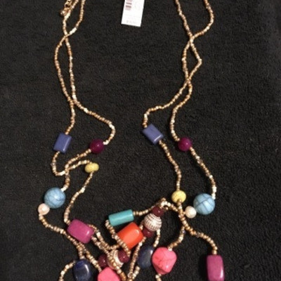 #Chico's Beaded Gold Tone Necklace