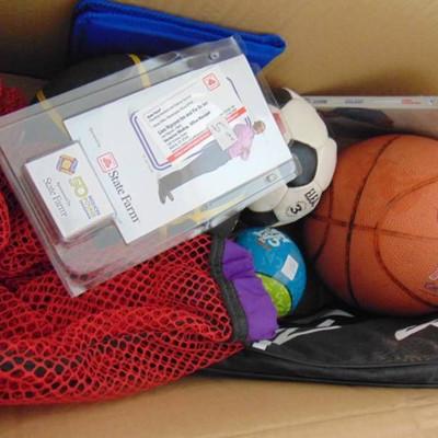 2 basketballs, soccer ball, and more