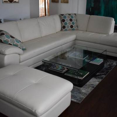 Italian White Leather Sectional - Like New - Pd $4,500.00