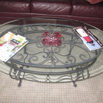 Glass Top Iron Base Coffee Table