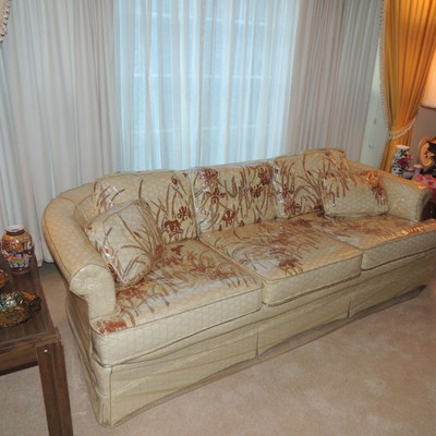 1950's Deville Furniture Co. North Carolina iris pattern sofa has had plastic cover on since purchase so is well preserved!