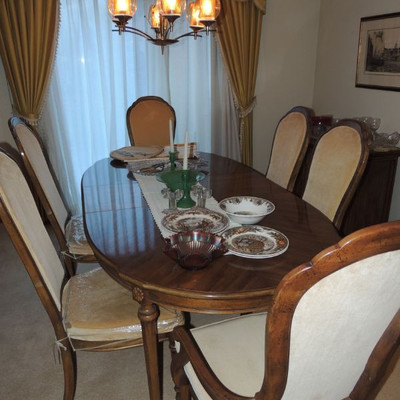 Stanley French Provincial Table with two leaves, 7 chairs, expandable side board, china cabinet
