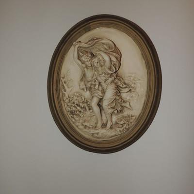 vintage plaster wall plaque