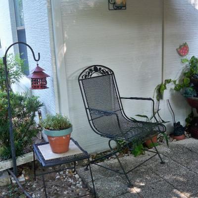 Vintage Black Wrought Iron Rocker Style Chair #1