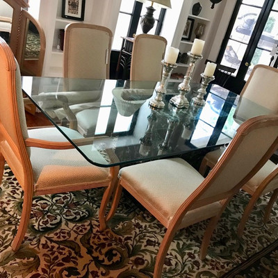 Thomasville green marble and glass dining table $495 Thomasville set of 6 dining chairs + bolt of matching upholstery fabric $265