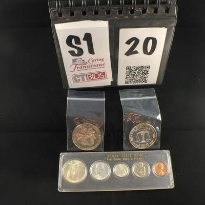 1987 Silver Dollar  Silver Trade Unit  1964 coin set of 5 https://ctbids.com/#!/description/share/178479