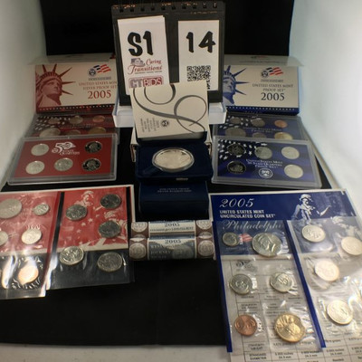 1) 2005 American Eagle One Ounce Silver Proof Coin in hard case inside blue velvet box  1) 2005 Silver Proof Set of 6 coins with in red...