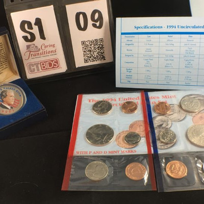 2) 1994 United States Mint Uncirculated set of 5 coins and mint metal