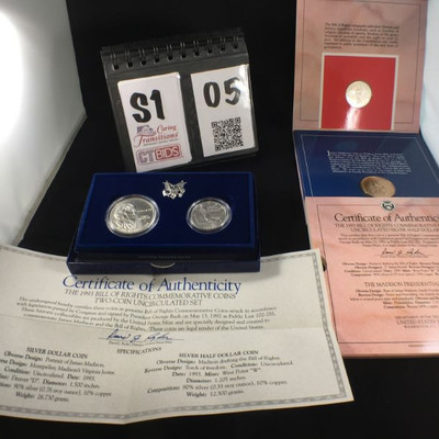 1993 Bill of Rights Commemorative Coin set, uncirculated Dollar with