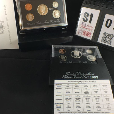1) 1993 Silver Proof Set of 5 coins in hard case  1) 1993 US Mint Premier Silver Proof set,