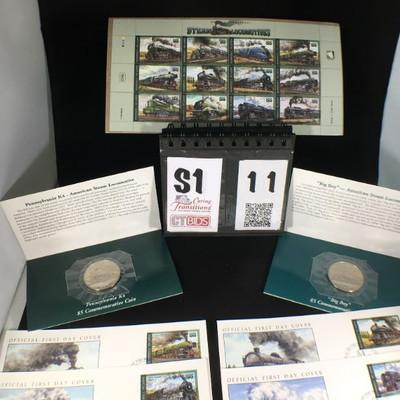 1) 1996 MIPS  C102 Worlds Legendary Steam Locomotives 55 stamps, sheet of 12  12) Locomotive Envelopes with stamps  1) 1996 Big Boy Five...