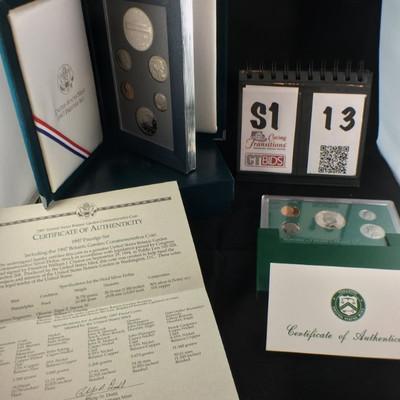1) 1997 Silver Proof Set of 5 coins green hard case  1) 1997 US Mint Prestige set, Botanic Garden Commemorative Silver Proof set in...