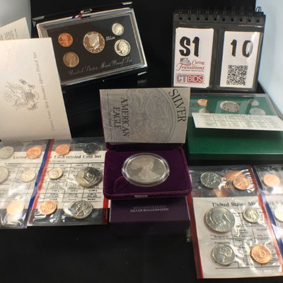 1) 1995 US Mint Premier Silver Proof set of 5,