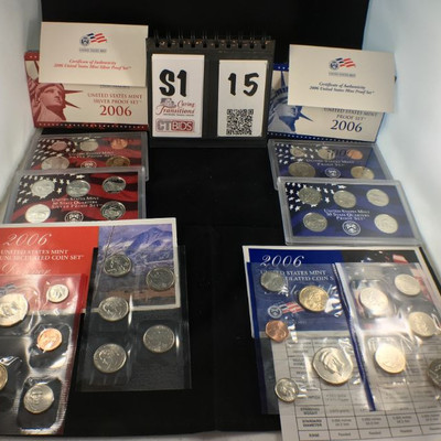 1) 2006 Silver Proof Set of 5 coins with in red hard case, D  1) 2006 USM 50 state quarter set of 5 coins in red hard case, D  1) 2006...