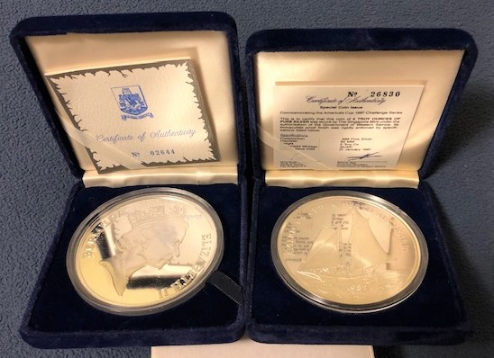 1987 America's Cup 5oz (5 dollar) .999 coins