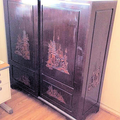 NNS144 Chinese Carved Wooden Cabinet