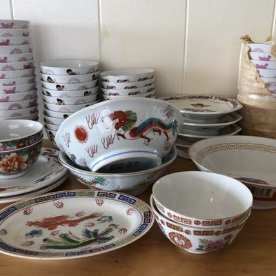 NNS127 Colorful Oriental Bowls and Plates