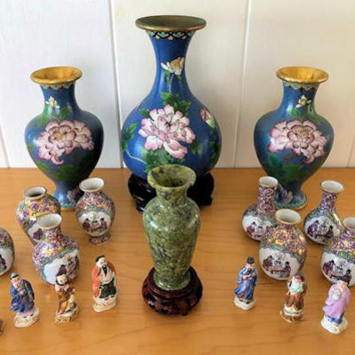 NNS107 Cloisonne Enamel Vases and Figurines