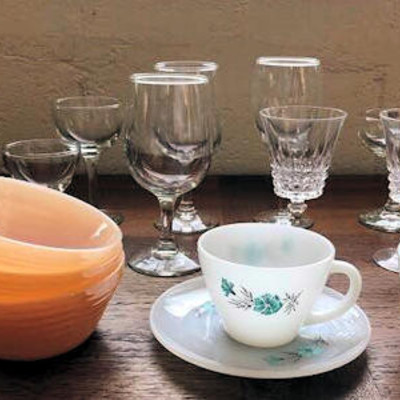 NNS003 Fire-King Pieces and Stemware Lot