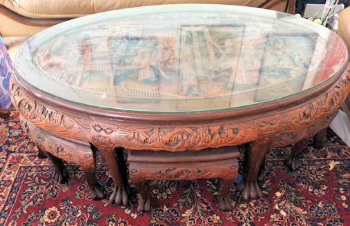 NNS114 Carved Wood Coffee Table