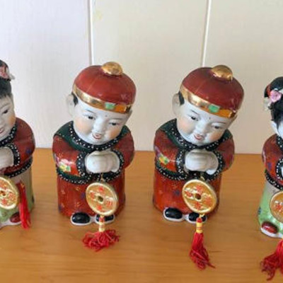 NNS105 Two Pairs of Chinese Boy and Girl Figurines